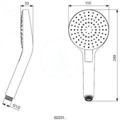 Ideal Standard Ruční sprcha Circle 110 mm, 3 proudy, chrom B2231AA