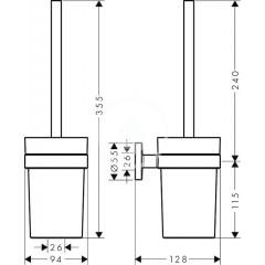 Hansgrohe WC kartáč s držákem, sklo/chrom 41722000