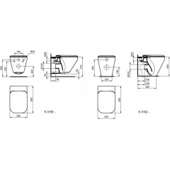 Ideal Standard Závěsné WC, 355x560x350 mm, splachovací technologie Aquablade, bílá K315801