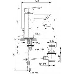 Ideal Standard Umyvadlová baterie, s odtokovou soupravou, chrom A6557AA