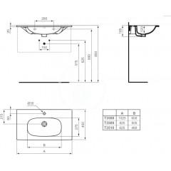 Ideal Standard Nábytkové umyvadlo 1025x450x165 mm, s 1 otvorem pro baterii, bílá T350801