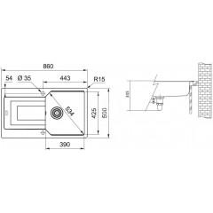 Franke Fragranitový dřez UBG 611-86, 860x500 mm, pískový melír 114.0582.893