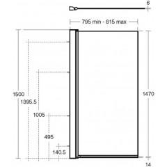 Ideal Standard Vanová zástěna pravoúhlá, chrom L6210AA