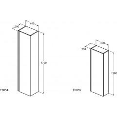 Ideal Standard Vysoká skříňka 400x208x1200 mm, lesklá bílá T0055OV