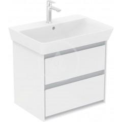 Ideal Standard Skříňka pod umyvadlo CUBE 650 mm, lesklý bílý/matný světle šedý lak E1605KN
