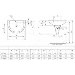 Ideal Standard Umyvadlo 650x475x215 mm, 1 otvor pro baterii, bílá V134001