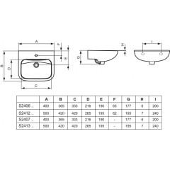 Ideal Standard Umývátko 400 x 117 x 365 mm (bez otvoru pro baterii, bez přepadu), bílá S240701
