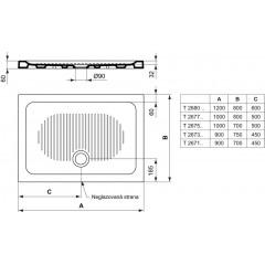 Ideal Standard Sprchová vanička keramická 900 x 750 mm, bílá T267301