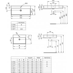 Ideal Standard Umyvadlo 910x420x150 mm, s Ideal Plus, bílá K0786MA
