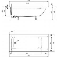 Ideal Standard Vana 1700 x 750 mm, bílá E106401