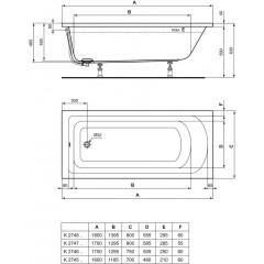 Ideal Standard Vana 1700 x 800 mm, bílá K274701