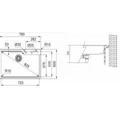Franke Fragranitový dřez UBG 610-78, 780x500 mm, onyx 114.0582.796