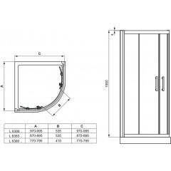 Ideal Standard Sprchový kout čtvrtkruhový 900x900 mm, silver bright L6383EO