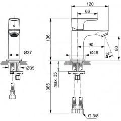 Ideal Standard Umyvadlová baterie Piccolo Slim, chrom A7018AA