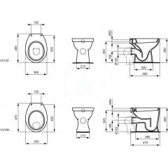 Ideal Standard Stojící WC, zadní odpad, bílá V312201