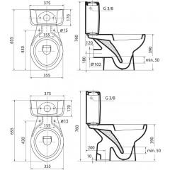 Ideal Standard Kombinační klozet 355 x 760 x 655 mm plně smontovaný s hlubokým splachováním (odtok vnitřní kolmý), bílá V335701