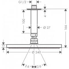 Hansgrohe Hlavová sprcha PowderRain 240, s přívodem od stropu 100 mm, chrom 27620000