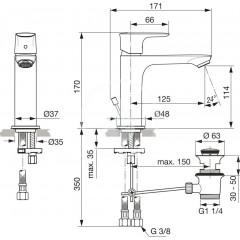 Ideal Standard Umyvadlová baterie Grande Slim s výpustí, chrom A7012AA