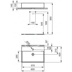 Ideal Standard Umyvadlo 600x420x145 mm, 1 otvor pro baterii, bílá K078101