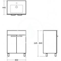 Ideal Standard Skříňka pod umyvadlo 600x440x740 mm, dub světle šedý E3239SG