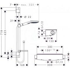 Hansgrohe Sprchový set 120 s termostatem Ecostat Select, 3 proudy, chrom 27038000