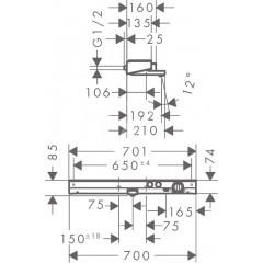 Hansgrohe Termostatická vanová baterie 700, chrom 13183000