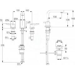 Kludi Umyvadlová baterie s výpustí, 3-otvorová instalace, chrom 343940575