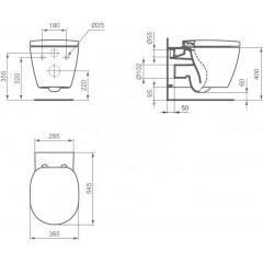 Ideal Standard Závěsné WC, 340x365x540 mm, s Aquablade technologií, bílá E047901