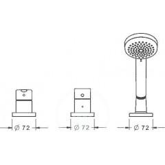 Hansa Vanová baterie, 3-otvorová instalace, chrom 03419073