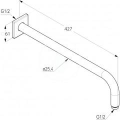 Kludi Sprchové rameno 400 mm, chrom 6653405-00