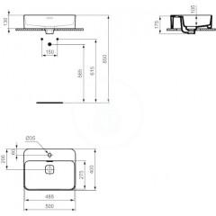 Ideal Standard Umyvadlo 500x400 mm, s Ideal Plus, bílá T2966MA