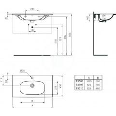 Ideal Standard Nábytkové umyvadlo 625x450x165, s 1 otvorem pro baterii, bílá T351001