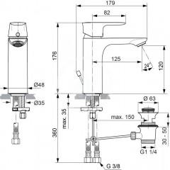 Ideal Standard Umyvadlová baterie Grande s výpustí, chrom A7053AA