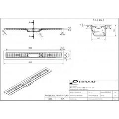 I-Drain ABS sprchový žlab s hydroizolací, délka 800 mm IDABS4M08001X1