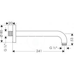 Hansgrohe Sprchové rameno 241 mm, chrom 27409000