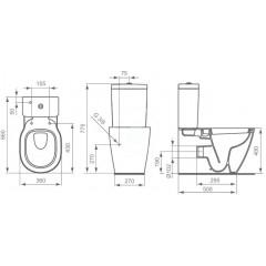 Ideal Standard Kombinační klozet kapotovaný 775x360x660 mm, bílá E823901