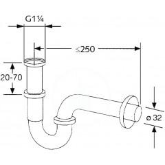 Kludi Trubkový sifon, standardní model 1 1/4, chrom 1025005-00