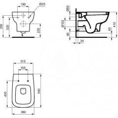 Ideal Standard Závěsné WC, bílá T281401