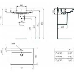 Ideal Standard Umyvadlo Cube, 650x460x160 mm, s 1 otvorem pro baterii, bílá E029701