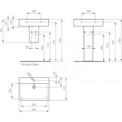 Ideal Standard Umyvadlo Cube 550x375x175 mm, s 1 otvorem pro baterii, bílá E714001
