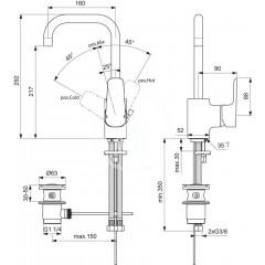Ideal Standard Umyvadlová baterie, s odtokovou soupravou, chrom B0706AA