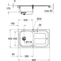 Grohe Set dřezu K300 a baterie Eurosmart 31565SD0