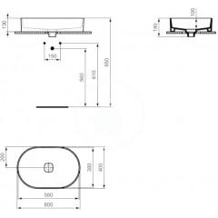 Ideal Standard Umyvadlo bez přepadu 600x400 mm, bílá T298101
