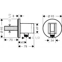 Hansgrohe Sprchový držák Porter S se zabudovanou přípojkou pro hadici, chrom 26487000