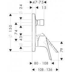 Hansgrohe Vanová páková baterie pod omítku, chrom 31945000