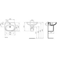 Ideal Standard Umyvadlo 550x450x170, s 1 otvorem pro baterii, bílá T351501