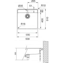 Franke Dřez MRX 210/610-50 TL, 530x510x180 mm, nerez 127.0539.574