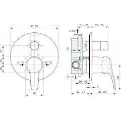 Ideal Standard Vanová baterie pod omítku, chrom A7163AA