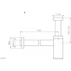 Ideal Standard Designový sifon k umyvadlu, prodloužený, chrom L4310AA