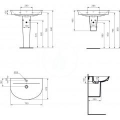 Ideal Standard Umyvadlo Arc, 700x475 mm, bílá E069201